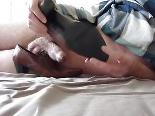 cum in wifes brown work shoe