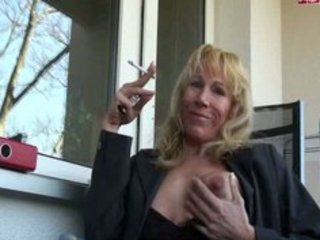 hawt older babe smokin on patio