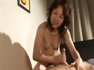lascivious japanese milf gives him head and then