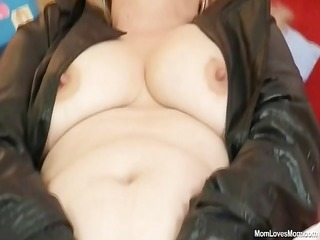 concupiscent mature lady wears nylons and toys