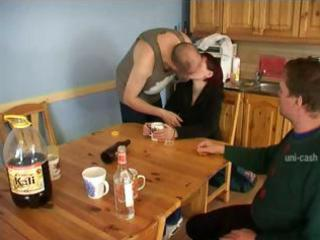 nasty redheaded wife gets pounded in the kitchen