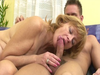 russian mom makes it is with younger boy