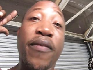 white wife screwed by blacks on garage floor in