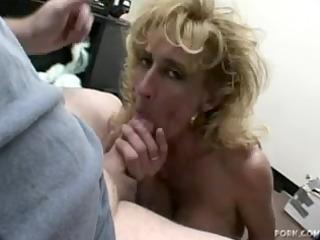 older golden-haired sage gives a oral-stimulation