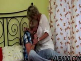 youthful chap fucks older lady in bedroom !!