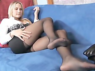 breasty blond mother i teases in sheer dark hose