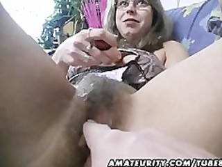 hairy dilettante wife toys and rides a cock with