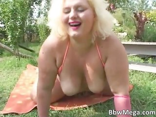 filthy fat brunette hair woman receives soaked