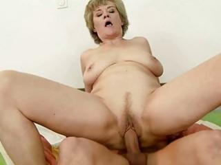 breasty grandma enjoys sex with youthful dude