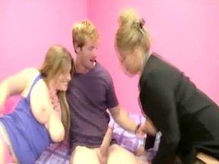 older business lady shows breasty teenager how to