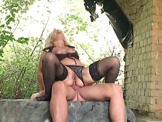 golden-haired granny group-fucked hard outdoors