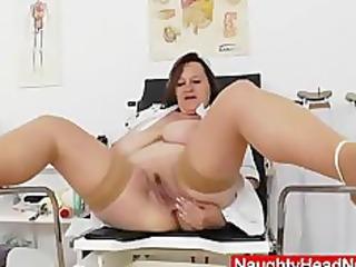 brunette lady practical nurse teases in uniforms