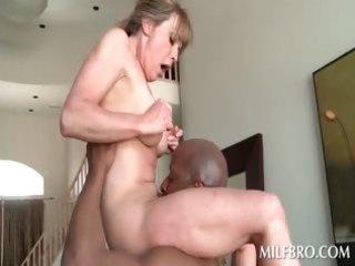 blond aged mama fucks darksome jock