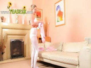 hot mamma in white pantyhose finger