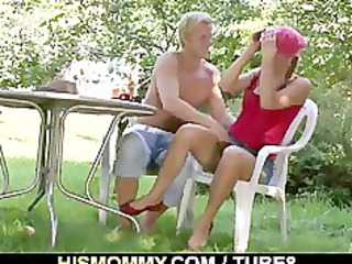 mommy toying his gf outdoors