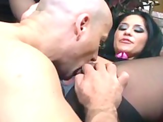 breasty dark brown fucking in black crotchless