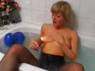 blond amateur wife toying and masturbating
