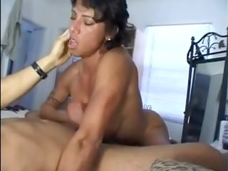 busty wife gives great cook jerking and titty
