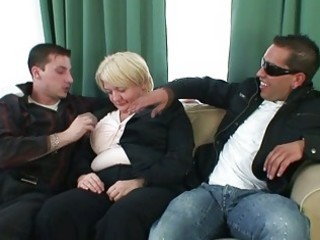 two males group-sex totally drunk granny