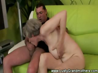 skilled granny fucking juvenile man on bed