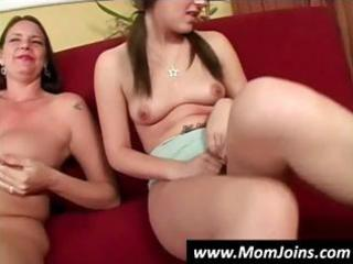 breasty dark brown mom teaches her daughter how