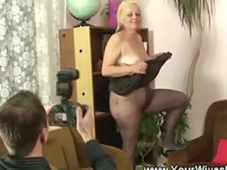 granny cuts a gap in her pantyhose