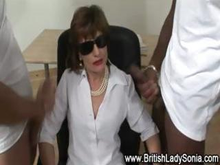 femdom older hot brit receives cumshots