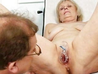 aged old brigita getting vagina exam from experie