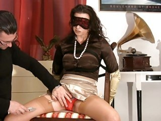 mother i in satiny stockings acquires blindfolded