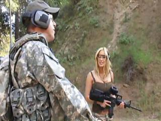 hot older bitch gives this soldier threesome sexy