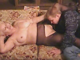 old blond granny in hose sucks and copulates the