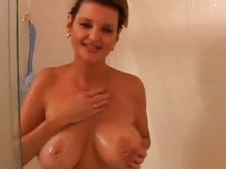 non-professional mature in the shower
