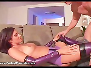 brunette hair mama in latex lingerie suck and