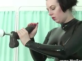 aged in latex sucks and bonks sex machine
