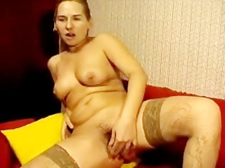russian mama bonks her unshaved cunt with toy on