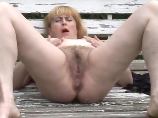 fat older with curly snatch outdoors by troc