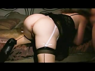 hot wife in stocking getting a creampie from hubby