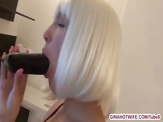 nasty platinum blonde is hungry for smth in her