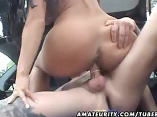 breasty non-professional wife drilled in a car