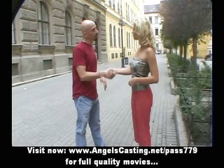 sporty blond pleasing talking with big lad in