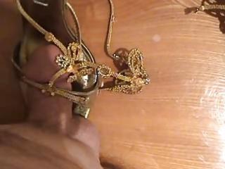 fucking wifes highheels - golden sandals