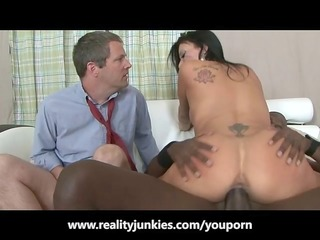 husband watches his wife fuck a darksome lad