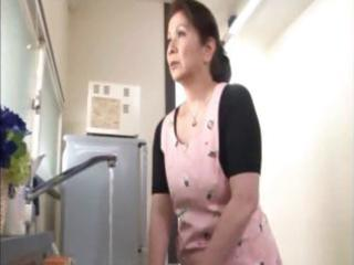 japanese aged housewife does an old stud and a