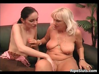 aged golden-haired slut and her youthful