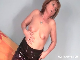blond lewd aged pleasuring her hungry pussy in