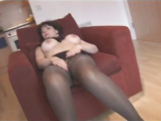 silly fake tits older in pantyhose and nylons