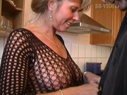hawt german mama in fishnets makes him cum in in