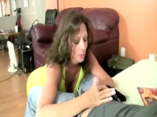 breasty brunette mature mother i tugging on cock