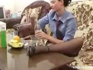 drunk wife fucking a bottle