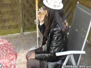 slutwife drinks a glass of pee